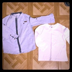 2 pieces h&m shirts 4y, and white cotton shirt 2/4